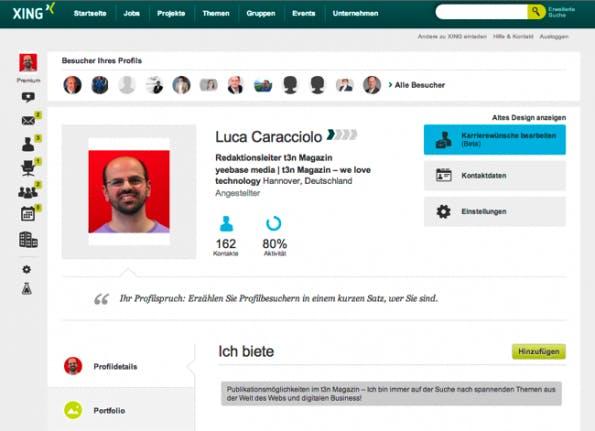 """Xing schließt seit heute Stück für Stück mit neuen Profilen auf. Darin enthalten ist auch ein """"Portfolio""""-Bereich. (Screenshot: Xing Luca Carraciolo)"""