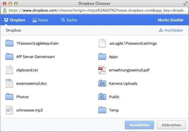 """Der """"Chooser"""" ermöglicht es, Dateien aus der Dropbox zu öffnen."""