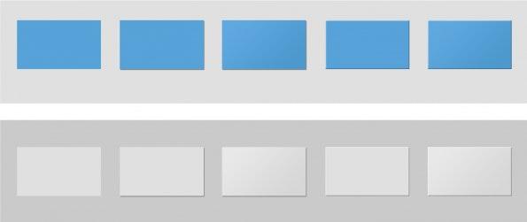 Beispiele für die Unterstützung der Tiefenwahrnehmung durch Sättigungsabstufung oben und Helligkeitsabstufung unten, jeweils unterstützt durch Schlagschatten, Schlagschatten und Helligkeitsverlauf, Konturlinien, Konturlinien und Helligkeitsverlauf.