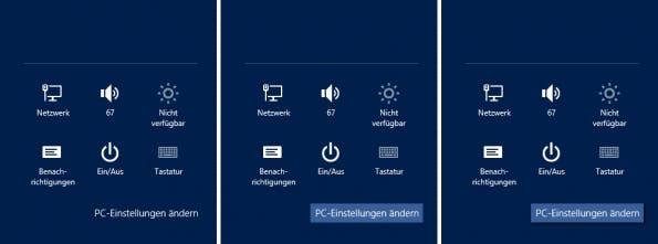 Die Einstellungen-Seitenleiste links im Original, in der Mitte mit Helligkeitsabstufung, rechts mit zusätzlichem Schlagschatten.