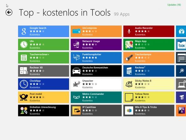 Farbige Kacheln im Windows-8-Store.