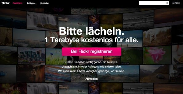 Flickr setzte schon 2004 einen Trend mit seinem Namen. Heute sind dort bereits etwa 8 Milliarden Fotos zu finden. (Screenshot: flickr.com)