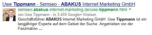 Authorship-Markup mit Firmenlogo.