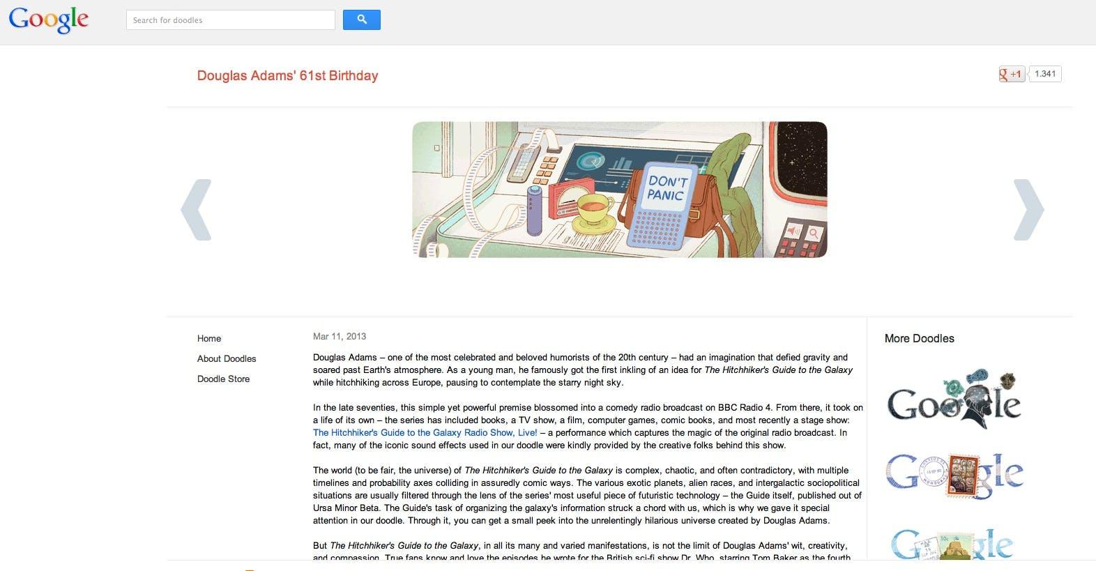 Das interaktive Google Doodle anlässlich des 61. Geburtstages von Douglas Adams Anfang 2013. Screenshot: Google