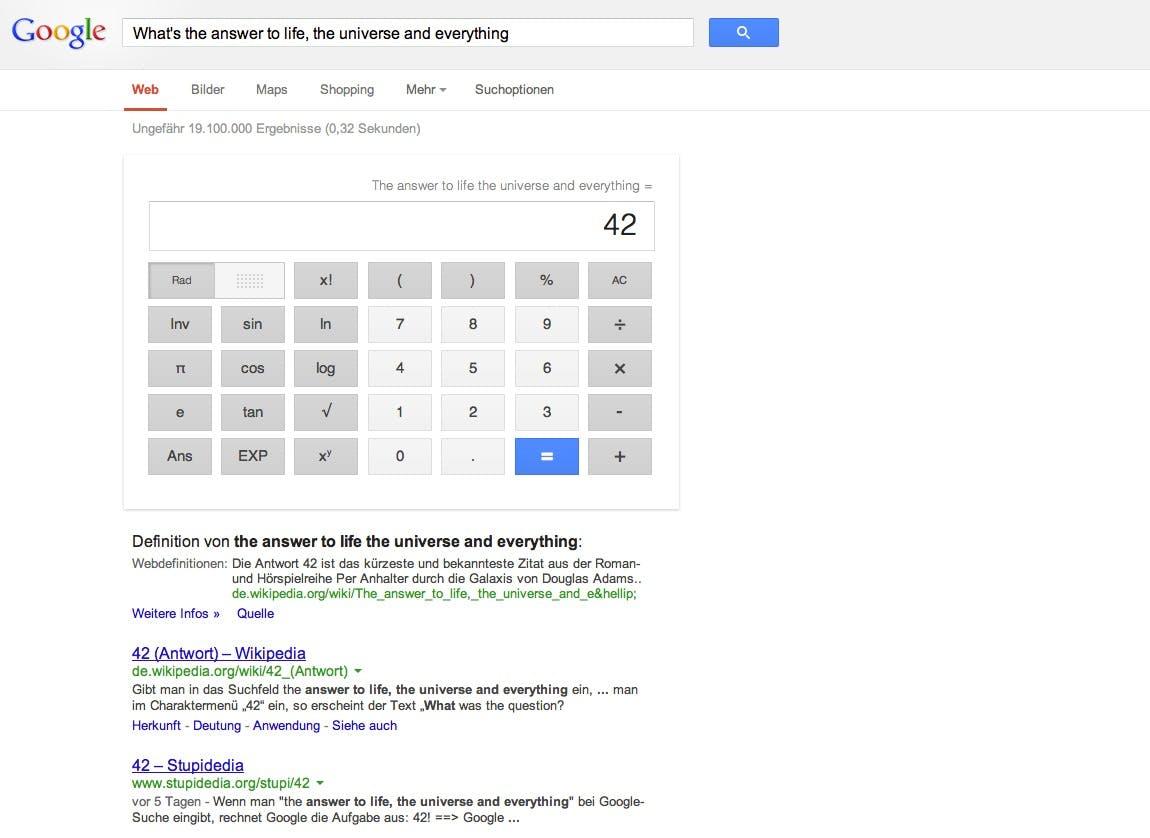 Eines der Google Eastereggs liefert dem Nutzer die Antwort auf die ultimative Frage, wenn er diese in die Suchmaske eingibt. Screenshot: Google