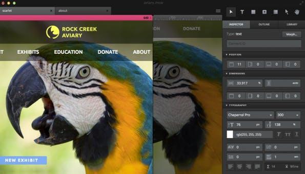 Macaw will Webdesignern die Arbeit erleichtern. Die Idee: Website-Gestaltung im Stil einer Bildbearbeitungssoftware, die den Code für die Website automatisch generiert. Screenshot: Macaw