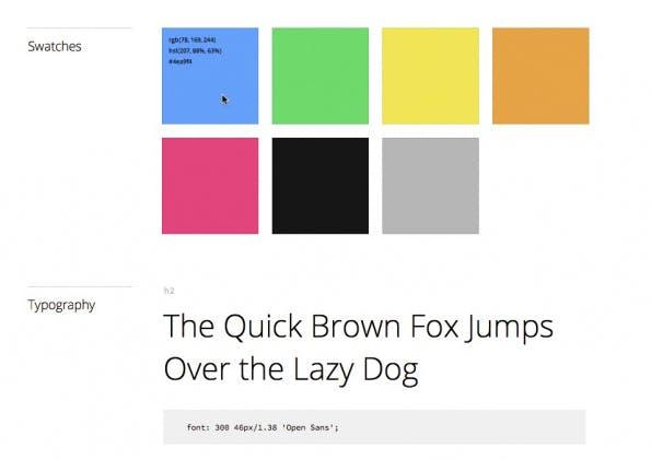 Macaw erstellt nach Abschluss eines Projekts automatisch den entsprechenden Style-Guide. Screenshot: Macaw