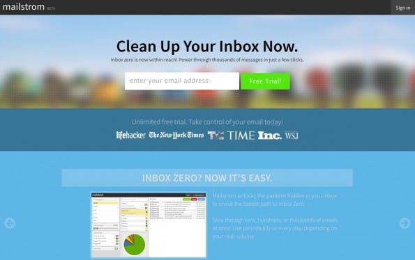 """Mit Mailstrom soll das Projekt """"Inbox Zero"""" schnell erreicht werden. (Screenshot: mailstrom.co)"""