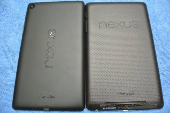 Der Nexus-Schrifzug auf der Rückseite ist beim neuen Modell horizontal angebracht. Das deutet darauf hin, dass Google den Landscape-Modus forcieren will. (Bildquelle: reddit)