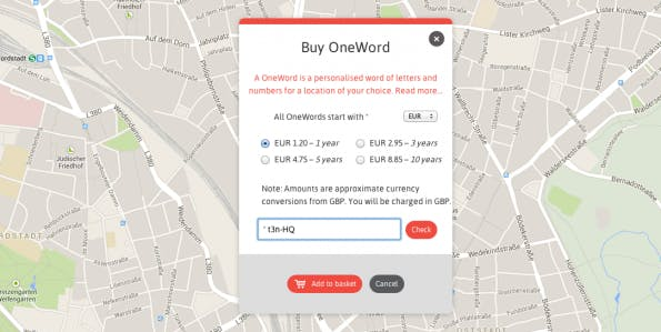 """OneWord""-Check auf What3Words. (Screenshot: w3w.com)"
