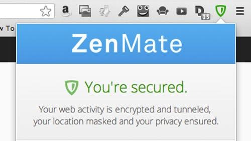 Sicher surfen mit ZenMate: Kinderleicht zu bedienendes Browser-Plugin, welches den Datenverkehr des Browsers verschlüsselt und maskiert.