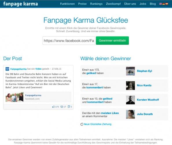 """Fanpage Karma bietet mit dem Zufallsgenerator """"Glücksfee"""" vier verschieden e Möglichkeiten, wie ihr den Sieger eurer Facebook-Fanpage Karma bietet mit dem Zufallsgenerator """"Glücksfee"""" vier verschieden e Möglichkeiten, wie ihr den Sieger eurer Facebook-Gewinnspiele ermitteln könnt. (Screenshot: Fanpage-Karma-Zufallsgenerator für Facebook-Gewinnspiele)"""