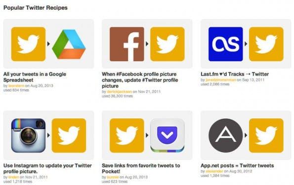 IFTTT: Die beliebtesten Twitter-Rezepte. (Screenshot: IFTTT)