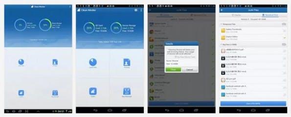 Mit Clean-Master kann man schnell und einfach unnötige Daten vom Smartphone löschen. (Screenshots: Google Play)