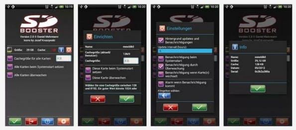 Android schneller machen: Die Wahl der richtigen MicroSD-Karte wirkt sich auf die Zugriffszeiten aus. Das Tool SDBooster erhöht den Cache und kann ebenfalls einen Geschwindigkeitsgewinn bringen. (Screenshots: Google Play)