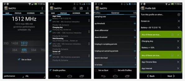 Android schneller machen: Mit SetCPU kann man den Prozessor übertakten. (Screenshots: Google Play)