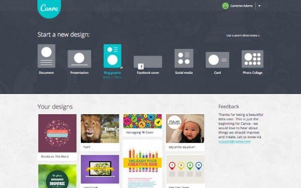 Canva: Die einfache Bedineung soll auch Anfängern schnell zu brauchbaren Ergebnissen führen. (Screenshot: Canva)