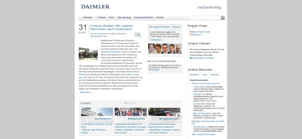 Der Corporate Blog von Daimler. (Screenshot: blog.daimler.de)