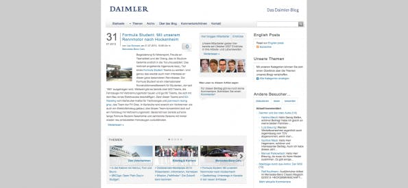 Der Corporate Blog von Daimler. (Screenshot: blog.daimler.de)