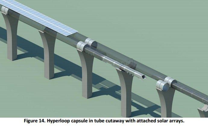 Hyperloop: Nach dem Willen der Macher soll eine Trasse so aussehen. (Bild: SpaceX)