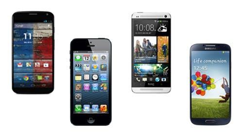 Smartphone-Vergleich: Moto X gegen Apple iPhone 5, Samsung Galaxy S4 und HTC One