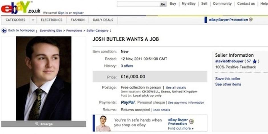 josh butler platzierte seinen online lebenslauf einfach auf ebay und versteigerte seine arbeitskraft hchstbietend - Online Lebenslauf