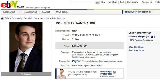 Josh Butler platzierte seinen Online-Lebenslauf einfach auf eBay und versteigerte seine Arbeitskraft höchstbietend.