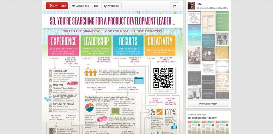 Online Lebenslauf Pinterest T3n Digital Pioneers