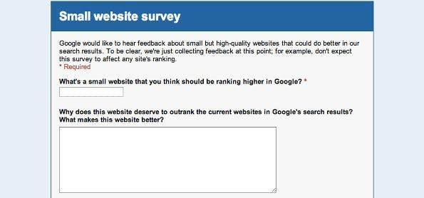 SEO: Diese kleine Formular sollen Betreiber kleiner Webseiten ausfüllen. (Screenshot: Google)