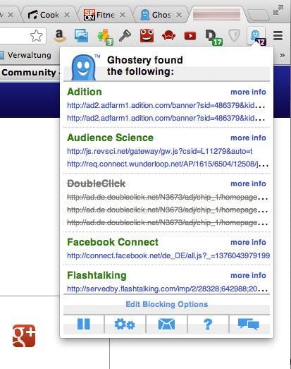 Plugins wie Ghostery zeigen dem Nutzer, wie oft er Spuren im Web hinterlässt und hilft, das zu unterbinden. Ein Dutzend oder mehr Tracking-Dienste auf einer Seite sind keine Seltenheit.