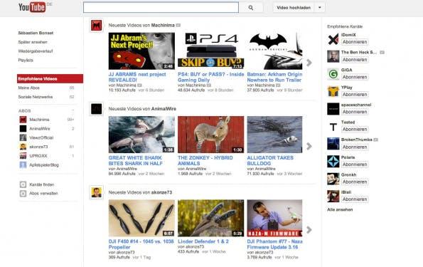 Nach der Eingabe des Kommandos ist man alle Werbung auf YouTube los. Die Startseite präsentiert sich dann wie im Screenshot oben. (Bild YouTube)