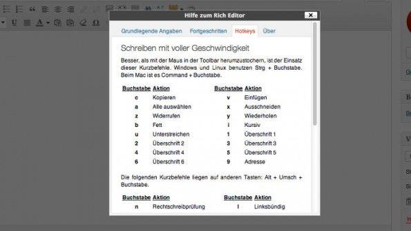Dank Shortcuts schneller mit WordPress arbeiten. (Screenshot: WordPress)