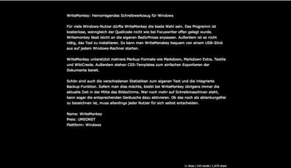 WriteBox: Ablenkungsfreies Schreiben direkt im Browser. (Screenshot: WriteBox)