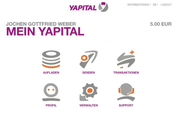Das Yapital-Benutzerkonto (Screenshot: Kapital)
