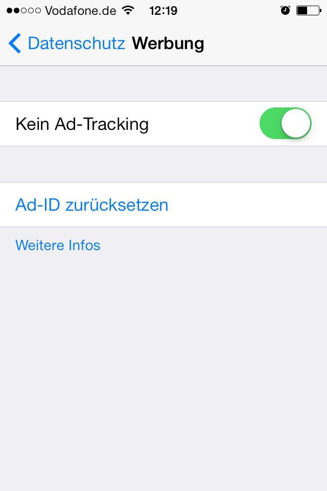 """Ad-Tracking lässt sich in iOS 7 unter """"Datenschutz"""" deaktivieren."""