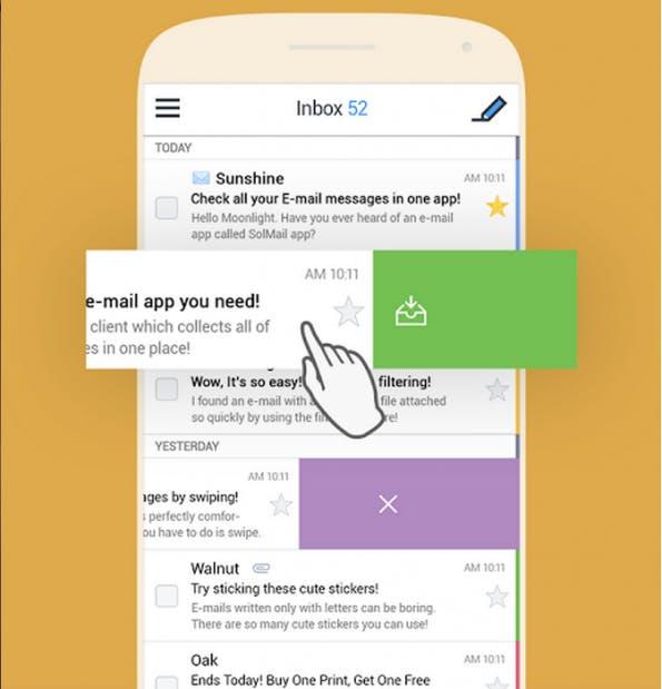 SolMail: E-Mails mit einem slide archivieren oder löschen (Screenshot: Google)