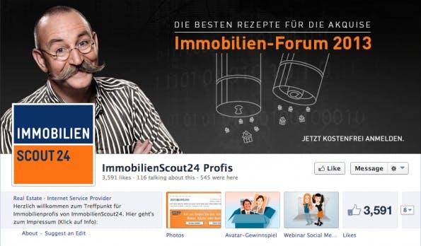 ImmobilienScout24 Profis - eine eigene Fanpage für die b2b-Follower. (Screenshot: Facebook)