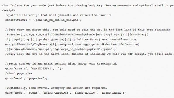 Ein Ausschnitt der alternativen Tracking-Lösung für Google Analytics. (Screenshot: github.com)