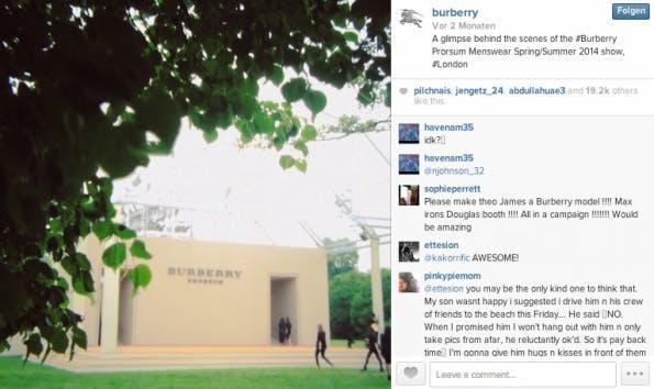 """Burberry zeigt """"Behind-the-Scenes""""-Clips von deren Laufsteg-Präsentation. (Screenshot: Burberry auf Instagram)"""