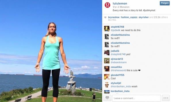 Ein hervorragendes Beispiel für ein Instagram-Video, dass die Marken-Identität kommuniziert. (Screenshot: Lululemon auf Instagram)
