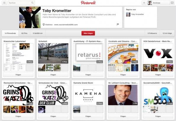 Toby Kronwitter hat aus seinem Pinterest-Board eine Online-Bewerbung gemacht. (Screenshot: Pinterest-Online-Bewerbung)