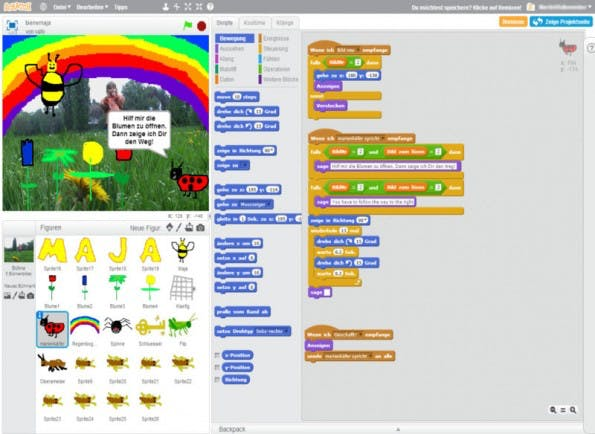 Scratch: Dank der visuellen Programmierung sind demotivierende Syntaxfehler ausgeschlossen. (Screenshot: Scratch)