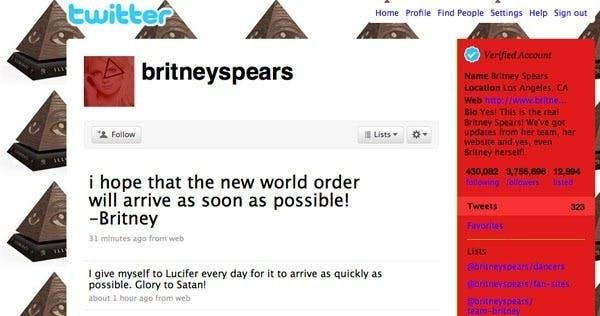 """Britney Spears wird Opfer eines Twitter-Hack: """"Glory to Satan!"""", heißt es in einem Tweet. (Screenshot: <a href=""""https://twitter.com/britneyspears"""">Twitter</a>)"""