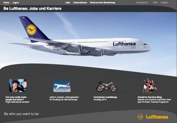 screenshot lufthansa - Bewerbung Lufthansa
