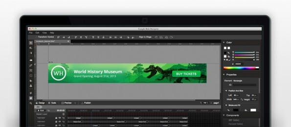 """Das neue Programm """"Web Designer"""" erstellt animierte Werbebanner auf HTML5-Basis."""