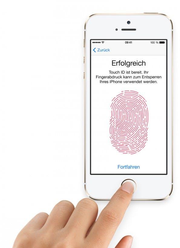 TouchID, das biometrische Benutzererkennungs-System im neuen iPhone 5s könnte die neue iOS 7 64-Bit-Architektur benötigen.(Screenshot: Apple)