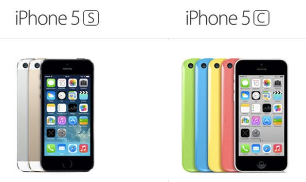 Der Preisunterschied zwischen iPhone 5s und iPhone 5c ist je nach Ausstattung nicht sonderlich groß. (Bild: Apple)