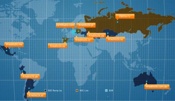 In diesen Ländern ist bereits ein Kredit über Kreditech möglich.(Screenshot: Kreditech)