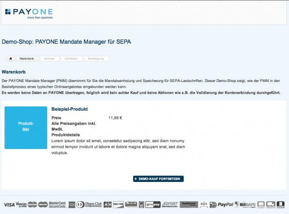Der SEPA-Demoshop von Payone. (Screenshot: Payone)