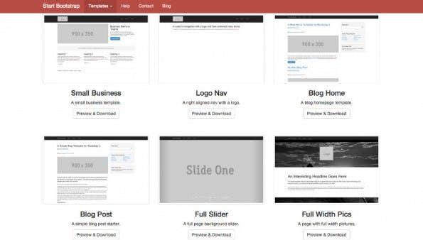 Start Bootstrap: Die Vorlagen sollen den Einstieg erleichtern. (Screenshot: Start Bootstrap)